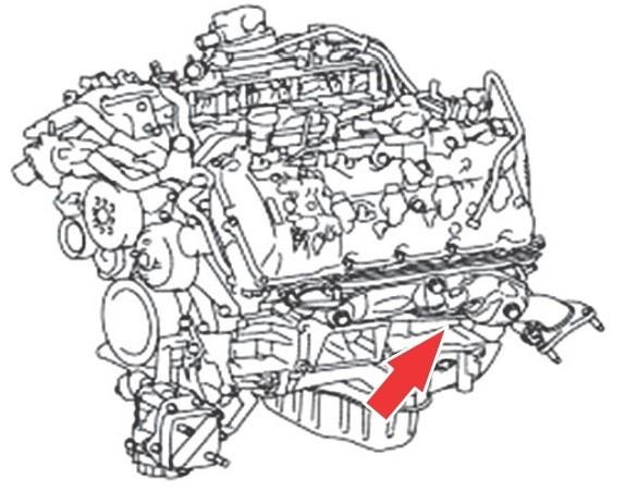 Место, где находится номер двигателя 1UR-FE
