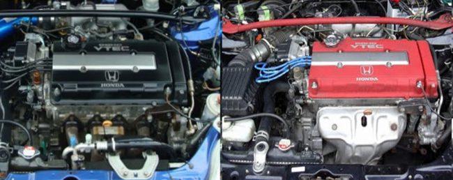 Двигатели Honda B16A (слева) и B16B в подкапотных пространствах