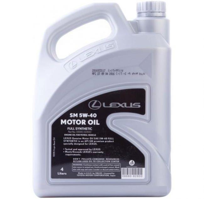 Рекомендуемое фирменное моторное масло Lexus