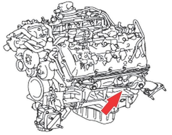 Расположение маркировки силового агрегата 1UR-FE