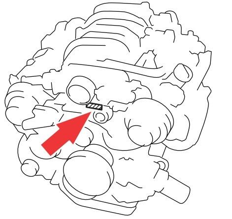 Расположение номера двигателя 3UZ-FE