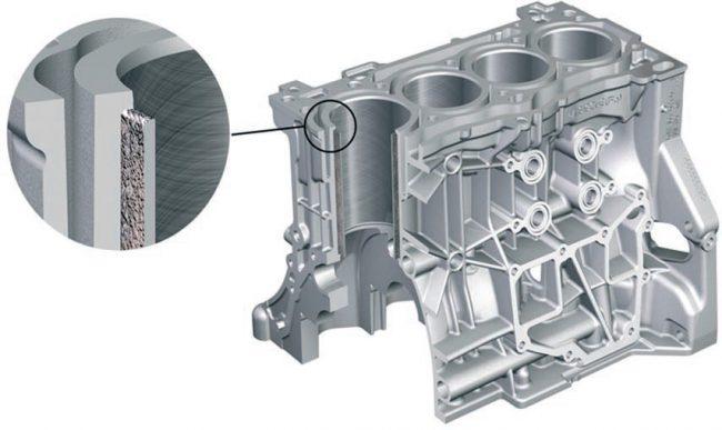 Блок цилиндров двигателей CZDA и CZEA с открытой рубашкой охлаждения