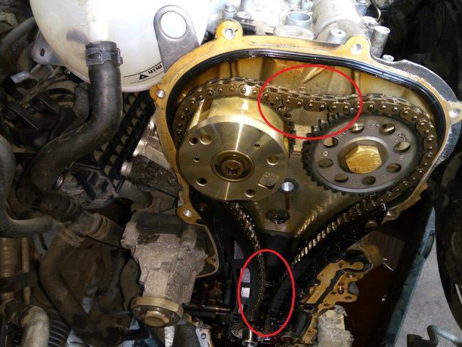 Растяжение цепи у двигателя Volkswagen Passat
