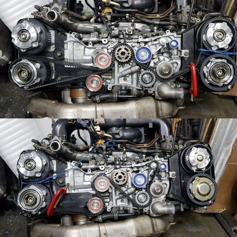 Замена ремня привода ГРМ на двигателе EJ20Y