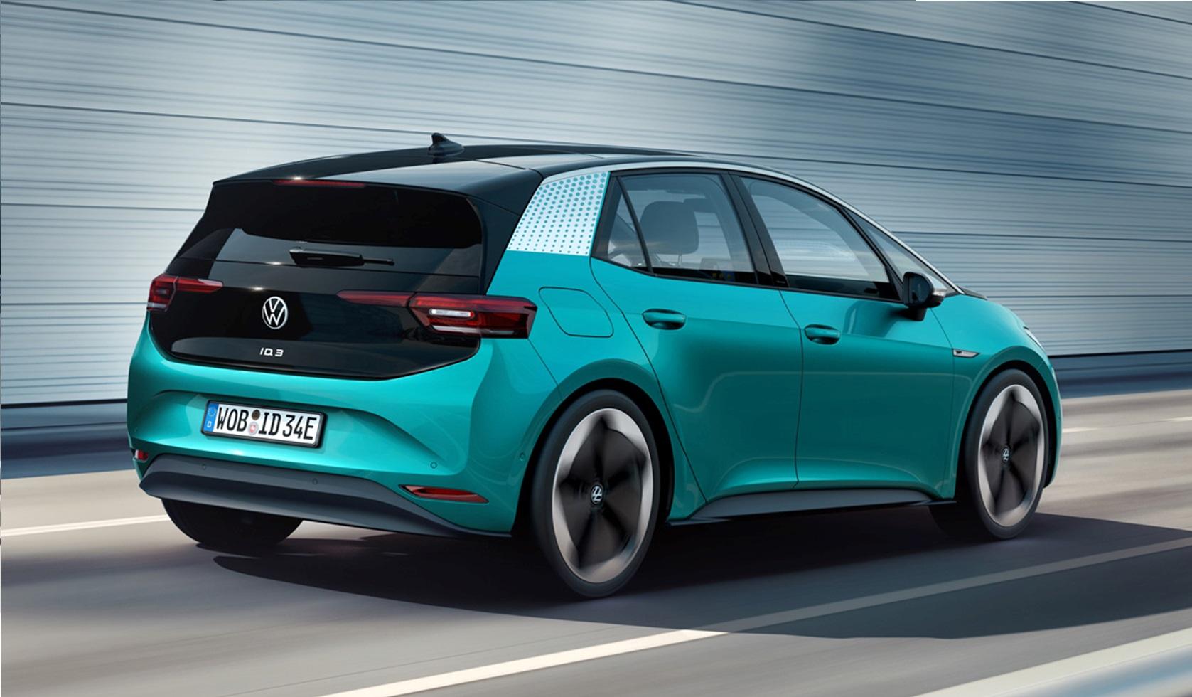 Вид сзади на Volkswagen ID.3