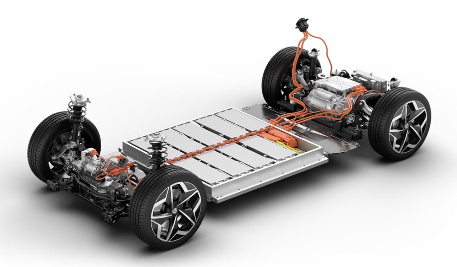 Расположение элементов платформы MEB, которая используется для Volkswagen ID.3