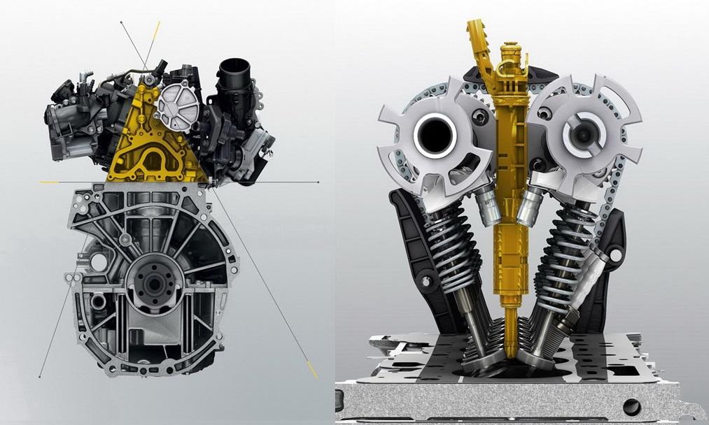 Схематичный вид двигателя и ГБЦ