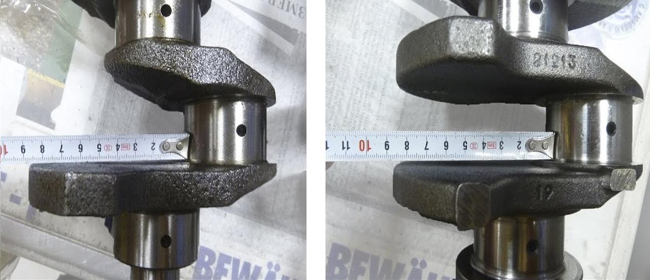 Слева коленвал ВАЗ-2103, справа – ВАЗ-21213