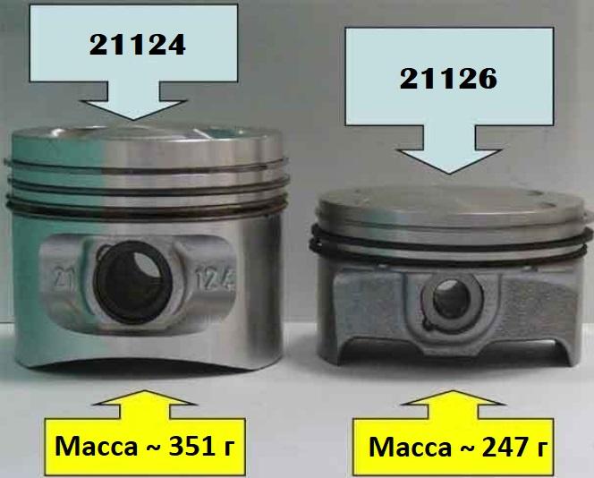 Облегченный поршень ВАЗ-2126 и стандартный ВАЗ 21124